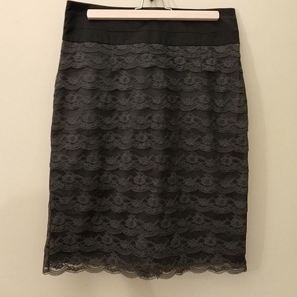 H&M Dresses & Skirts - H&M Black with Gray Lace Pencil Skirt, Size 12